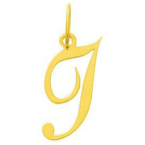 So Chic Bijoux © Pendentif Lettre I Initiale Alphabet Style Cursive Scripturale Or Jaune 750/000 (18 carats)
