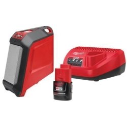 Milwaukee 2592-21 M12 12-Volt Lithium-Ion Cordless Bluetooth Wireless Jobsite Speaker Kit (1) 1.5Ah Battery, Charger