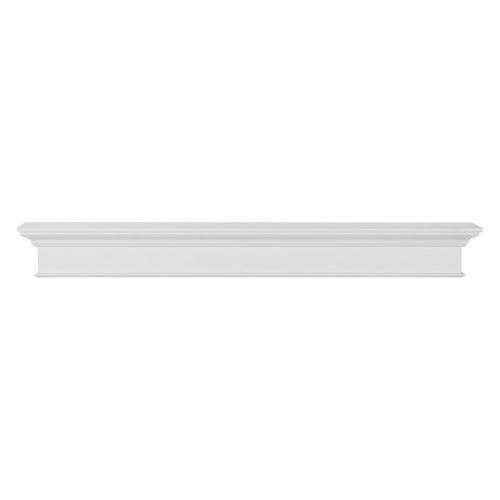Depth 48in - Pearl Mantels Henry 48-Inch Mantel Shelf, White