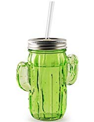 Circleware Green Glass Cactus Mason Sipper with Metal Lid and Straw, Set of 4, 15.5 Oz