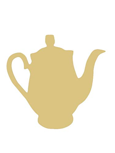 """Teapot Cutout Unfinished Wood Kettle Tea Vintage Kitchen MDF Shape Canvas Style 1 (6"""")"""
