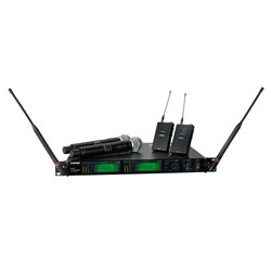 - Shure UR4D+ Dual Channel Wireless System with Two UR1 Bodypacks and Two UR2/SM58 Handheld Transmitters Band G1