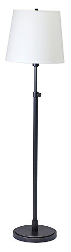 House Of Troy TH701-OB Town House Collection Portable Adjustable Floor Lamp, Oil Rubbed Bronze with Off-White Linen Hardback Shade
