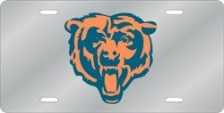 Chicago Bears Silver Laser Cut License Plate (Bears Chicago Plate License Laser)