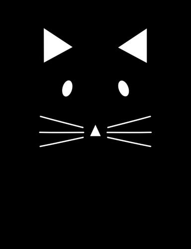 Cute Cat Kitten Face with Whiskers Black and White Composition Notebook: College Ruled (7.44 X 9.69) Cat Lover Lined Writing Paper Book