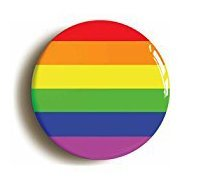Rainbow Button Pin (Size is 1inch Diameter) LGBT Gay Pride Diversity ()