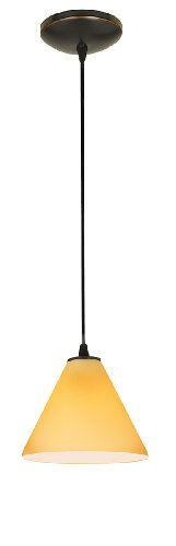 Access Lighting 28004-1C-ORB/AMB Sydney  Oriental Glass Pendant  with Amber Glass Shade, Oil Rubbed Bronze Finish - Amber Mini Pendant