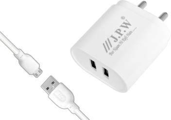 JPW J.P.W 3.4 AMP Double USB Charger 3.4 A Multiport Mobile Charger with Datacable Cable  White