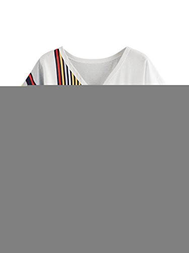 ROMWE Womens V Neck Contrast Striped Button Tee Shirt Color Block Knot Front Short Sleeve Top Blouse