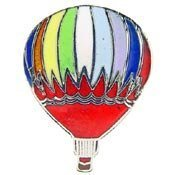 Metal Lapel Pin - Blimps and Balloons - Hot Air Balloon - Red Bottom