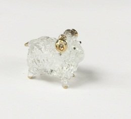 Studio one Sheep Clear Gold Art Glass Blown Ram animal Figurine Collection Best Gift by Studio one