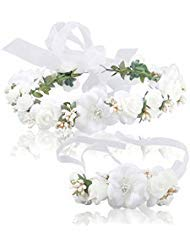 Women Flower Crown Girls Wedding Hair Wreath Floral Headband Garland Wrist Band Set (white)