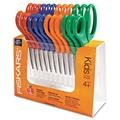 Fiskars Childrens Safety Scissors, Pointed, 5 in. Length, 1-3/4 in. Cut, 12/Pack