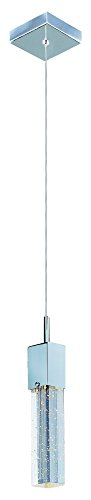 - ET2 E22761-89PC Fizz III 1-Light LED Pendant Mini Pendant, Polished Chrome Finish, Etched/Bubble Glass, PCB LED Bulb, 3W Max., Dry Safety Rated, 3000K Color Temp., Standard Triac/Lutron or Leviton Dimmable, Shade Material, 770 Rated Lumens