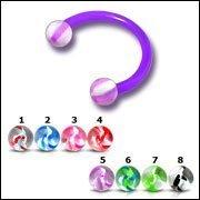 Circular Barbells-uv New 16g Uv Flexible Circular Barbell With 3mm Uv Glass Look Screw Ball Body Jewelry