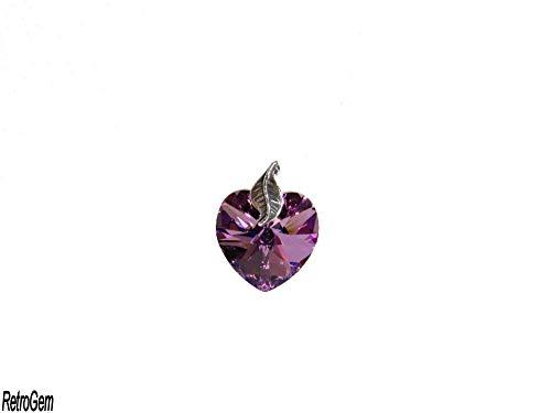 RetroGem Crystal Pendant Sterling Silver Leaf Crystal Heart Pendant Made with Swarovski Elements Crystal (Vitrail Light)