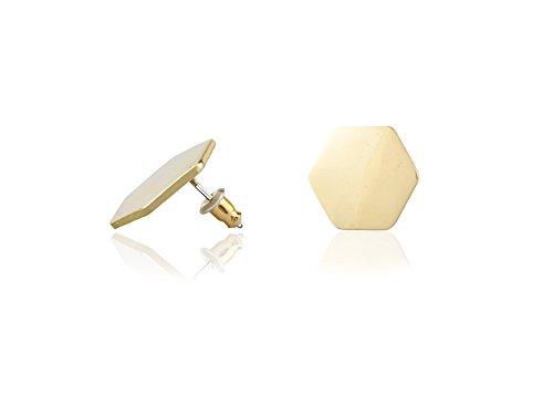 - Dokeril Simple Modern Gold Hexagon Geometric Ear Studs Solid Shiny Earrings for Women