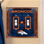 (Denver Broncos Art Glass Lightswitch Cover (Double))
