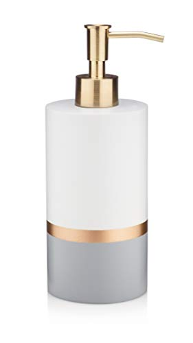 Essentra Home Day and Night Collection White and Grey with Gold Stripe Liquid Soap Dispenser with Brushed Metal Gold Pump for Bathroom, Bedroom or Kitchen. Also Great for Hand - Gold Dispenser Soap Bathroom