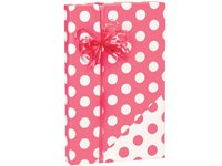 Coral Pink Reversible Polka Dot Wrap Wrapping Paper - 15 Foot Roll