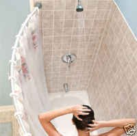 after all anti mildew woman curtain curved bowed liner shower with and rod
