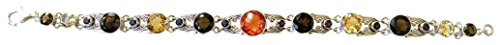 Nicky Butler Sterling Silver Smokey Quartz and Multi Gemstone Leaf Point Line Bracelet