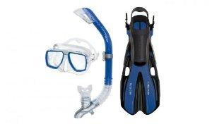 HEAD by Mares Tarpon Travel Friendly Premium Mask Fin Snorkel Set, Blue, Large, (10-13)