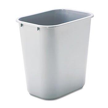 Deskside Plastic Wastebasket, Rectangular, 7 Gal, Gray