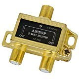 (ANTOP Low-Loss 2 Way Coaxial Splitter for TV Antenna and Satellite 18K Gold-Plated Chassis 2GHz - 5-2050MHz All Port DC Power)