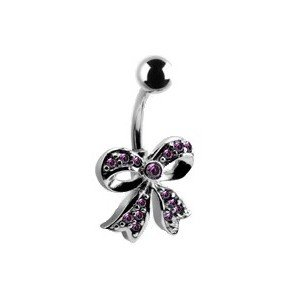 piercing nombril noeud papillon mutlistrass violet