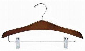 Only Hangers Walnut & Chrome Flat Decorative Combination Hanger [ Bundle of 25 ]