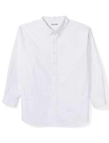 Amazon Essentials Men's Big & Tall Long-Sleeve Oxford Shirt fit by DXL, White, ()