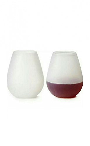 Two Flexible Silicone Stemless Wine Glasses By Savory Sips S