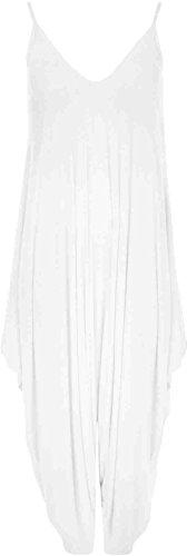 GirlzWalk ® Damen Lagenlook Cami Riemchen Ausgebeult Harem Overall Kleid Weiß 7mYlDwK