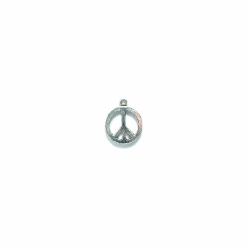 Shipwreck Beads Pewter Peace Sign Charm, Bright Silver, 15mm, -