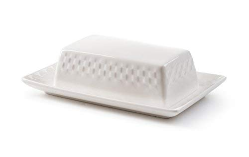 - ROSCHER Basketweave Butter Dish (White Porcelain) Textured Surface, 2-Piece Cover and Plate Set | Modern Serving and Storage | Kitchen, Refrigerator, Dining Room Use