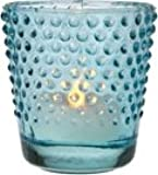 Luna Bazaar Glass Candle Holder (2.5-Inch, Candace Design, Hobnail Motif, Blue) - For Use with Tea Lights - For Home Decor, Parties, and Wedding Decorations