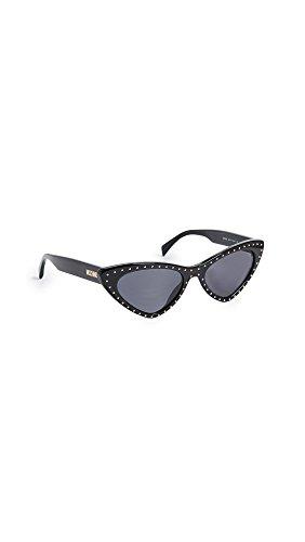Moschino Women's Pointed Cat Eye Sunglasses, Black/Grey Blue, One - Sunglasses Moschino