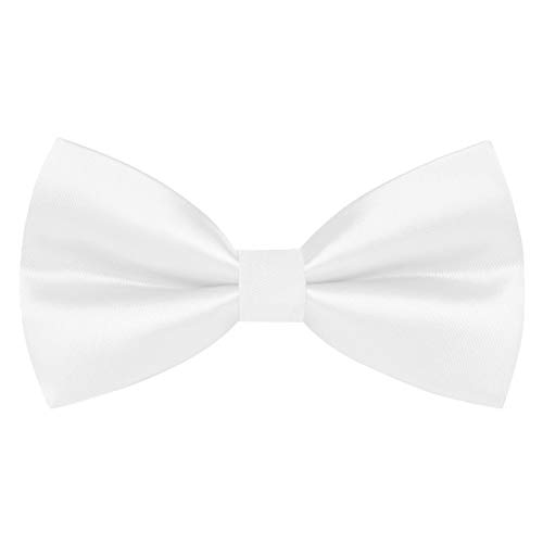Pre-tied Bow Ties Clip On Formal Solid Tuxedo Adjustable Bowtie Wedding Off White Large ()