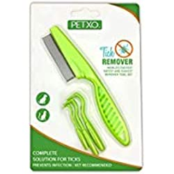 Home Tick Removal Tool for Dogs, Cats and Humans | Ultra-Safe Tick Remover | Removes Entire Head & Body | Pain-Free Ticks Remover | Tick Control Products | Pack of 3 + Flea Comb For Pets.