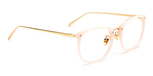 TIJN Vintage Optical Acetate Eyewear Eyeglasses Frame with Clear Lenses (Pink, 51-20-143)