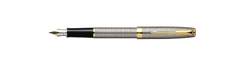 Parker Sonnet Fountain Pen Chiseled Silvery w/Chrome Plated Trim-MEDIUM Nib