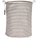 """Sea Team 19.7"""" Large Sized Waterproof Coating Ramie Cotton Fabric Folding Laundry Hamper Bucket Cylindric Burlap Canvas Storage Basket with Stylish Grey & White Stripe Design"""