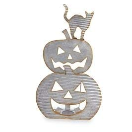 Mud Pie Galvanized Tin Cat and Jack-O-Lantern Halloween Candle Sitter, Silver]()