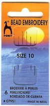(1 Pack of 6 Pony Bead Embroidery needles size 10.)