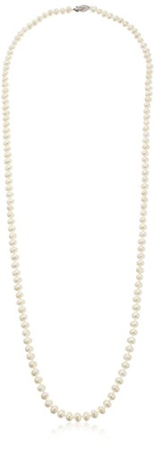 Sterling Silver White Freshwater Cultured A Quality Pearl Necklace (5.5-6mm), 30'' by Amazon Collection