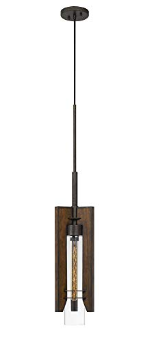 (1-Light Pendant in Pine and Iron Finish)