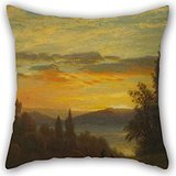 Artistdecor Oil Painting Albert Bierstadt - On The Hudson River Near Irvington Throw Pillow Covers 20 X 20 Inches / 50 By 50 Cm For Car,son,adults,home Theater,bedding,relatives With Both Sides