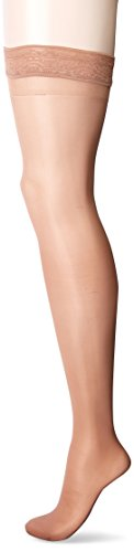 Activa Ultra Sheer 9-12 mmHg Thigh High with Lace Top, Suntan, Size D