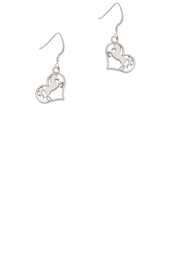 Stallion Silhouette Heart - French Earrings